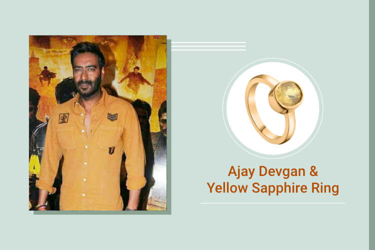Ajay Devgn - Yellow Sapphire and Pearl (Pukhraj and Moti)