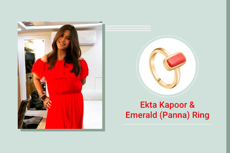 Ekta Kapoor -Yellow Sapphire (Pukhraj), Emerald (Panna), Diamond, and Coral