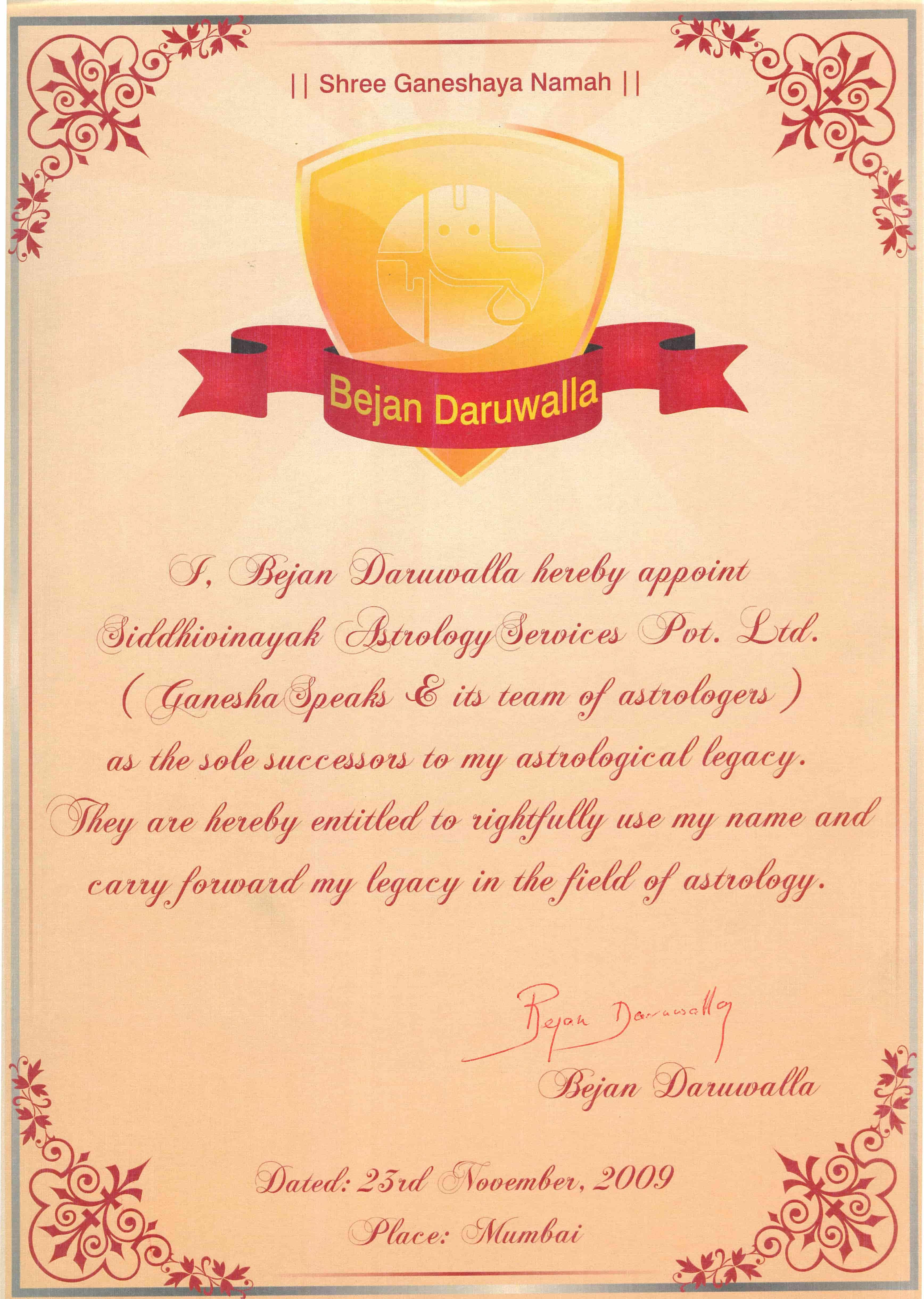 Bejan Daruwalla Certificate