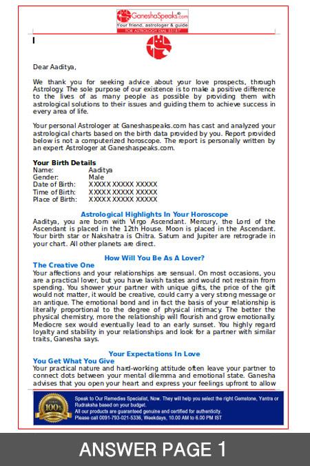 Love Prospect Report - GaneshaSpeaks Team