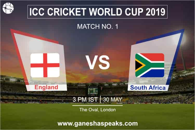 England vs South Africa, 2019 ICC Cricket world cup Prediction