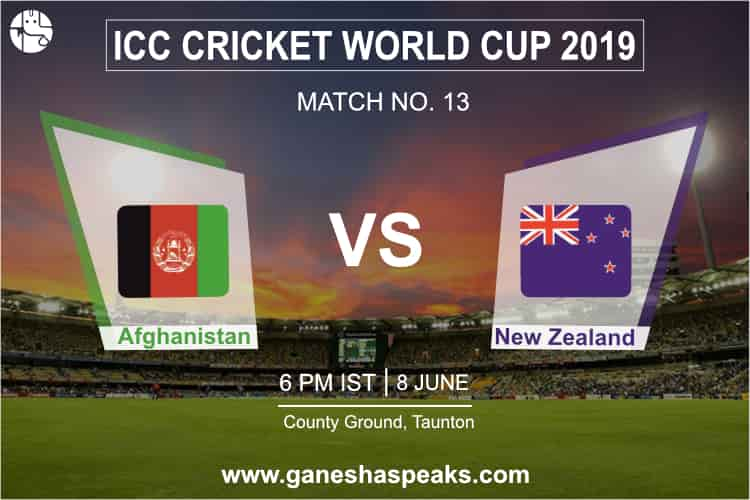 Afghanistan vs New Zealand, 2019 ICC Cricket world cup Prediction