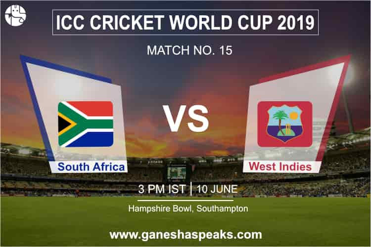 South Africa Vs West Indies, 2019 ICC Cricket world cup Prediction