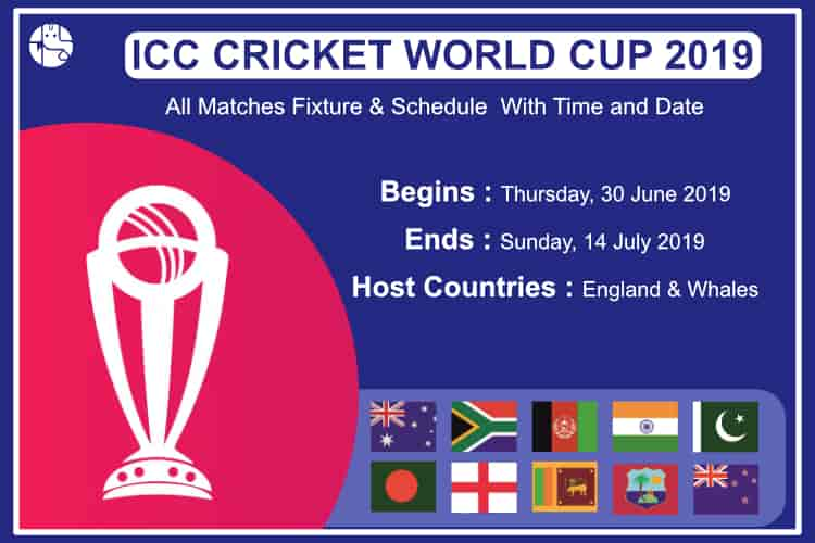 2019 cricket world cup match schedule